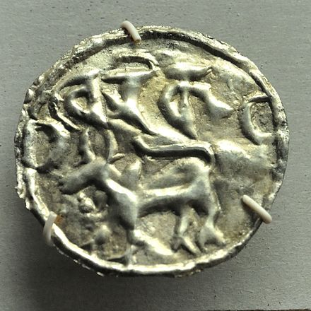 A silver coin with Proto-Bengali script, 9th century Coin - Silver - Circa 9-10th Century 13th Century CE - Harikela Kingdom - ACCN 90-C2752 - Indian Museum - Kolkata 2014-04-04 4303.JPG