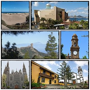 Gran Canaria - Top left: Maspalomas Dunes, Top right: Alfredo Kraus Audiorium, Middle left: Parque rural del Nublo (Nublo Rural Park), Middle right: Matriz Santiago de Los Caballero Church, Bottom left: Arucas Church, Bottom right: Casa Museo del Tomas Morales (The House Museum of Thomas Morales)