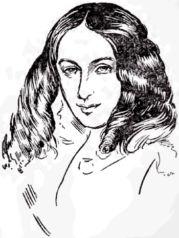English: Portrait drawing of poet Elizabeth Ba...