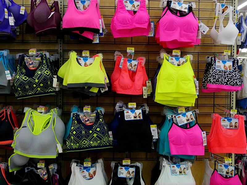 File:Colorful sports bras in Walmart.jpg