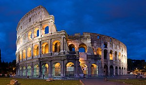 Flavian dynasty - The most enduring landmark of the Flavian dynasty was the Flavian Amphitheatre, better known as the Colosseum (in Italian Colosseo). Its construction was begun by Vespasian, and ultimately finished by Titus and Domitian, financed from the spoils of the destruction of the Second Jerusalem Temple.