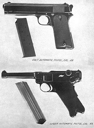 "Colt M1900 - The Model 1905, in .45 ACP, was tested against a .45 caliber variant of the Luger pistol in 1907. Note ""stub"" spur hammer on M1905."