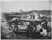 Columbiad guns of the Confederate water battery at Warrington, Florida (entrance to Pensacola Bay), 02-1861 - NARA - 519437