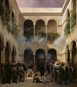 Pastry War - French troops under Prince de Joinville attack residence of General Arista in Veracruz, 1838.