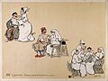 Comical scenes of nurses engaged in massaging and electrifyi Wellcome V0015717.jpg