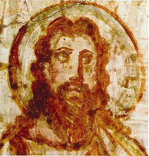 Pittura murale raffigurante Gesù (catacomba di Commodilla a Roma, fine IV secolo-inizi del V)