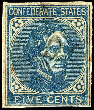 De La Rue - Image: Confederate stamp Jefferson Davis 5c 1862 issue