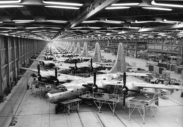 Mass production of Consolidated B-32 Dominator airplanes at Consolidated Aircraft Plant No. 4, near Fort Worth, Texas, during World War II. Consolidated TB-32 production line.jpg