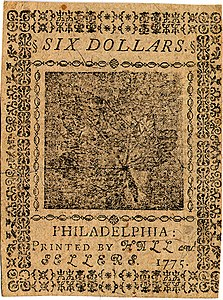 Continental Currency $6 banknote reverse (November 29, 1775).jpg