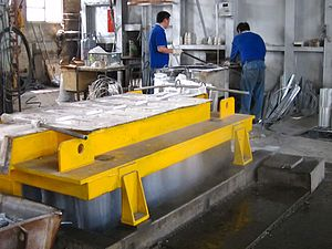 Continuous casting - Image: Continuous casting of Al
