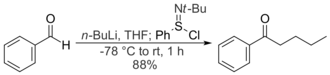N-tert-Butylbenzenesulfinimidoyl chloride - Benzaldehyde and n-butyllithium react to give a secondary alkoxide, which reacts with N-tert-butylbenzenesulfinimidoyl chloride to give a ketone.