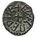 Copper alloy styca of King Aethelred II of Northumbria (YORYM 2000 3512) obverse.jpg