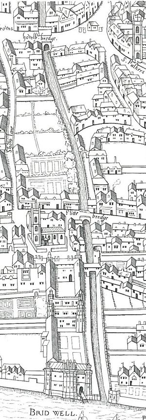 "River Fleet - The southern reaches of the Fleet, flowing beneath Holborn Bridge and Fleet Bridge, past Bridewell Palace, and into the Thames, as shown on the ""Copperplate"" map of London, surveyed between 1553 and 1559"