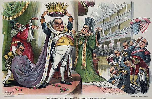 "Louis Dalrymple cartoon from Puck magazine, June 24, 1896, showing McKinley about to crown himself with the Republican nomination. The ""priests"" are Hanna (in green) and Representative Charles H. Grosvenor (red); H. H. Kohlsaat is the page holding the robe. Coronation of McKinley.jpg"