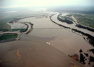 McKissick Island - View from the north during the 2011 Missouri River flood.  The entire island is inundated. The point where the Nishnabotna on the left makes a curve to the right is where the Nishnabotna flows in and out of the island.
