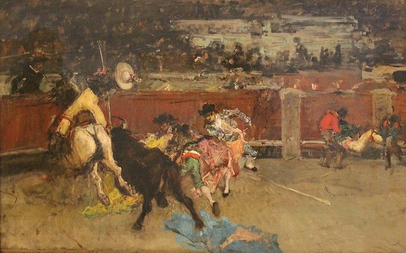 File:Corrida de toros. Picador herido (c. 1867), por Mariano Fortuny Marsal.jpg