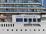 Costa neoRomantica Name on the Gunwale Tallinn 20 July 2013.JPG