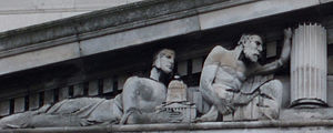 Nottingham Council House - Detail of sculpture on principal facade, showing a model of the Council House