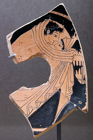Cloak - Couple hiding under the same cloak, fragment of an Ancient Greek red-figure cup, ca. 525 BC–500 BC, found in Athens. Louvre Museum, Paris.