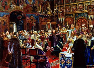 Great Moscow Synod - Defrocking of Patriarch Nikon, an 1885 painting by Sergey Miloradovich