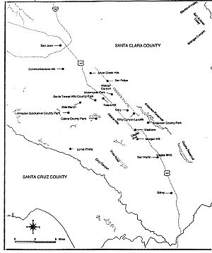 Bay checkerspot butterfly - This map shows the locations of key Bay checkerspot habitats along Coyote Ridge.