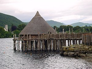 Crannog - Reconstructed crannog near Kenmore, Perth and Kinross, on Loch Tay, Scotland