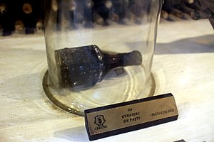 Cricova (winery) - A bottle of wine (Easter Jerusalem, Ian Beher) circa 1902 is exhibited in Cricova Cellars.