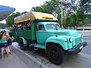 """Transport in Cuba - Private owned truck-bus (""""Camion"""") Ford in 2014"""