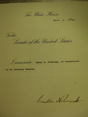Homer Stille Cummings - Cummings's Attorney General nomination