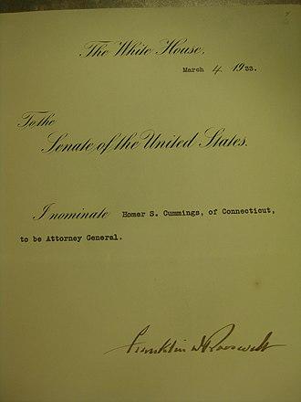 Homer Stille Cummings - Cummings's Attorney General nomination