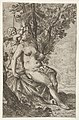 Cupid prepares to shoot an arrow as Venus, seated on a drapery, looks over her right shoulder, from the series 'Sport of Love' (Scherzi d'amore) MET DP833521.jpg