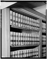 DETAIL OF BOOKSHELVES IN NINTH FLOOR LAW LIBRARY - U. S. Courthouse, 1010 Fifth Avenue, Seattle, King County, WA HABS WASH,17-SEAT,6-26.tif