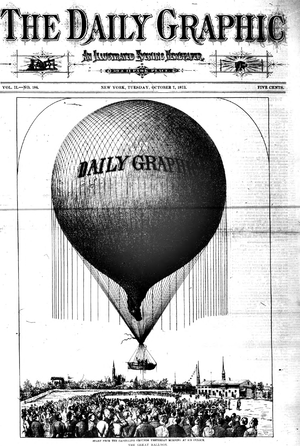 Daily Graphic - October 7, 1873 front page, showing Washington Donaldson's balloon team ascending in an ill-fated attempt to cross the Atlantic