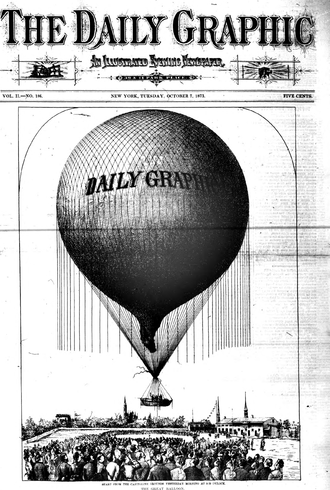 Washington Harrison Donaldson - Front page of the Daily Graphic, October 7, 1873, showing Donaldson's team ascending