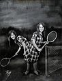 Daisy and Violet Hilton, conjoined twins, ready for tennis. Wellcome V0029598.jpg