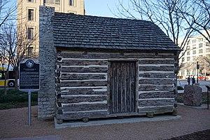 John Neely Bryan - Replica of John Neely Bryan's cabin, Founders Plaza, Dallas, Texas.