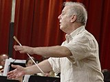 Renowned Argentine conductor Daniel Barenboim rehearsing West-East Divan in Pilas, Seville, Spain
