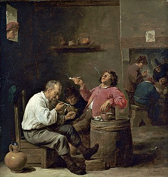 David Teniers the Younger - Smokers in an interior, c. 1637, oil on panel