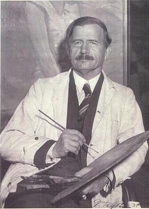 David Wallin - The artist David Wallin in his art studio in Stockholm in 1935.