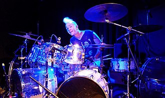 David Keith (drummer) - David Keith at the Ballroom at the Outer Space, Hamden CT, during a video shoot to promote the Mission Zero release Easy Tiger, Feb. 2017.