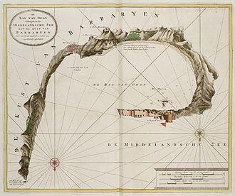 Sieges of Oran and Mers El Kébir - Map of the Bay of Oran in 1725, by Johannes van Keulen.