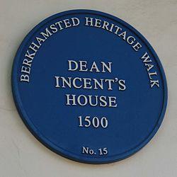 Photo of John Incent blue plaque