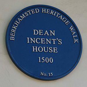 Dean Incent's House - Image: Dean Incent's House blue plaque