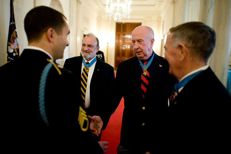 File:Defense.gov News Photo 101116-A-0193C-005 - Staff Sgt. Salvatore Giunta left meets with three Medal of Honor recipients before he is awarded the Medal of Honor in the White House in.jpg