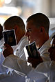 Defense.gov News Photo 110629-N-OA833-005 - Plebes in the U.S. Naval Academy Class of 2015 stand at attention and begin memorizing portions of Reef Points while reporting to the school s.jpg