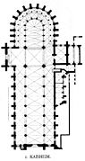 The architectural plan of a cruciform building, with short transepts and a curved apse.