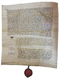 Dekret kutnohorský – jedno z nejznámějších dochovaných vyhotovení, notářský instrument zhotovený pro Jana Husa z 18. září 1414