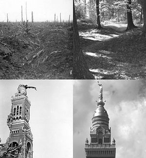A collage of four monochrome photographs: Top left–destroyed trench in barren, treeless landscape. Top right–Forest scene with dense vegetation and visible mounds of overgrown, well vegetated trenches. Bottom left–Abby spire with visible bomb damage to middle left section and toppeled status of Virgin Mary leaning over at 90 degrees to right. Bottom left–Spire and abby visible with erect Virgin Mary statue against cloudy sky backdrop