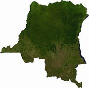 Satellite image of Democratic Republic of the Congo, generated from raster graphics data supplied by The Map Library