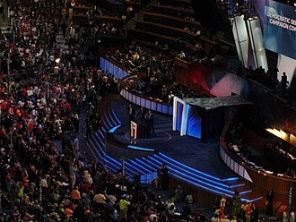Democratic Senatorial Campaign Committee - Chuck Schumer, flanked by Democratic Senate challengers, speaks during the third day of the 2008 Democratic National Convention in Denver, Colorado, in his capacity as chair of the DSCC.
